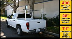 """MaxxHaul 70423 Aluminum Truck Bed Rack: Reinforced inner chambers of the crossbars for increased structural strength. Adjustable cargo bumpers prevent loaded cargo from sliding off during transport. No drilling required.  Lightweight, rigid construction. Powder coated finish. Includes adjustable cargo bumpers. Crossbar up to 71"""" long fits most trucks. Upright support height: 26"""". Distributed load capacity: 400 lbs.  Learn more at: http://www.maxxhaul.com/#!70423/cu04"""