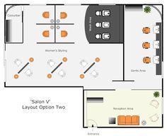 Small Hair Salon Design Ideas | Hair salon layout option 2