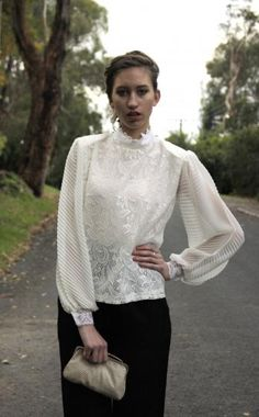 Round She Goes - Market Place - Vintage chiffon and lace long sleeve blouse