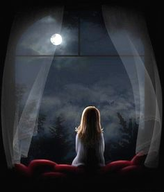 """At night when the stars light up my room, I sit by myself talking to the moon. Try to get to you in hopes you're on the other side talking to me too. Or am I a fool who sits alone talking to the moon"" Ciel Nocturne, Good Night Moon, Beautiful Moon, Moon Art, Anime Art Girl, Belle Photo, Night Skies, Moonlight, Fantasy Art"