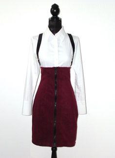 Rock mit hoher Taille Fleece bordeaux von lucylique - Mode und Accessoires made in Leipzig auf DaWanda.com
