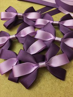 Purple and lilac grosgrain ribbon bows on alligator clips - www.dreambows.co.uk #hairbows