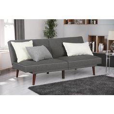 dhp olivia grey linen memory foam futon by dhp dhp metropolitan futon lounger   wayfair   play room ideas      rh   pinterest