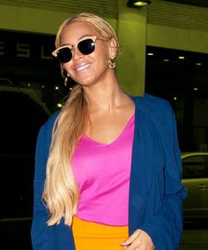 Beyoncé Embraces Colorblocking Trend In Head-To-Toe Neon  #refinery29  http://www.refinery29.com/2015/05/87656/beyonce-colorblock-outfit