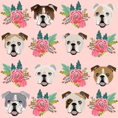english bulldog pink florals fabric cute pink and mint floral fabric english bulldogs dog fabrics fabric by petfriendly on Spoonflower - custom fabric