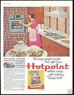 Vintage hot point ad. oven on a colorful tile wall.