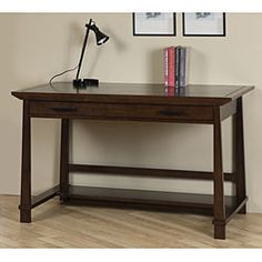 @Overstock.com - Andaman Desk - Enrich your home's decor with this Andaman wooden desk. Featuring a pull-out tray with a cable pass for keyboards and multiple storage compartments, this stylish desk is functional and has a Halifax brown finish that enhances its aesthetic appeal.  http://www.overstock.com/Home-Garden/Andaman-Desk/4231884/product.html?CID=214117 CAD              273.44
