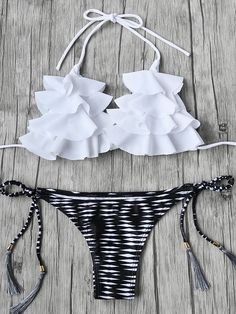 Online shopping for Flounce Detail Tassel Tie Bikini Set from a great selection of women's fashion clothing & more at MakeMeChic. Cute Swimsuits, Cute Bikinis, Bikini Swimwear, Bikini Tops, Halter Bikini, Thong Bikini, Bikinis Lindos, Mode Du Bikini, Cute Bathing Suits