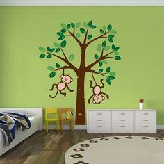 Großer Baum mit Affen Digital Wadeco Wandtattoo