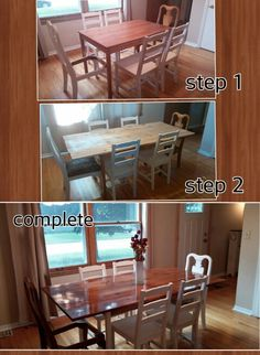 Ikea table turned farmhouse table. Added cedar planks, stain, poly, chalk painted legs. Done! Bought 2 end chairs for 6 dollars at a garage sale