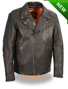 5e2c05cbc5d918 Men s Motorcycle Triple stitch updated police style leather jacket with  vents