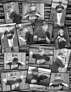 Little League Baseball Team collage