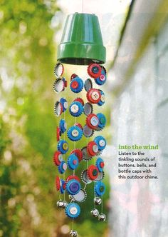 windchime with a pot, bottle caps and buttons (parents magazine)