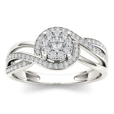 De Couer 10k Gold 1/4ct TDW Diamond Bypass Cluster Ring