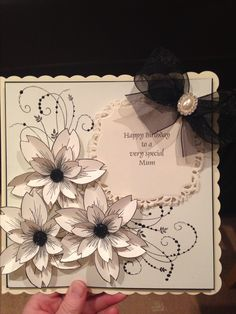 Stamps by chloe flower stamp , black and cream birthday card 70th Birthday Card, Handmade Birthday Cards, Greeting Cards Handmade, Card Making Inspiration, Making Ideas, Honey Doo Crafts, Chloes Creative Cards, Stamps By Chloe, Flower Cards
