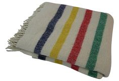 A vintage Hudson's Bay Co blanket in the classic color scheme is the perfect accessory for setting a lake house scene.