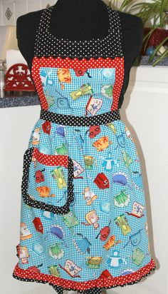 Flirty Ruffled OOAK Full Apron. $45.00, via Etsy.