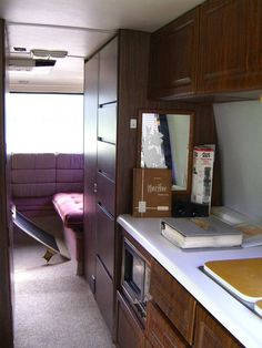 The stove / oven was removed from the kitchen and replaced with a microwave… Camper Stove, Rv Kitchen Remodel, Camper Decorating, Gmc Motorhome, Camper Remodeling, Stove Oven, Camper Interior, Trailer Remodel, Camping Glamping