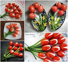 flowers out of cherry tomatoes diy tulips recipe recipes diy crafts do it. - Zeleninové pokrmy -Making flowers out of cherry tomatoes diy tulips recipe recipes diy crafts do it. Cute Food, Good Food, Yummy Food, Appetizer Recipes, Appetizers, Easter Recipes, Fruit Recipes, Food Carving, Snacks Für Party