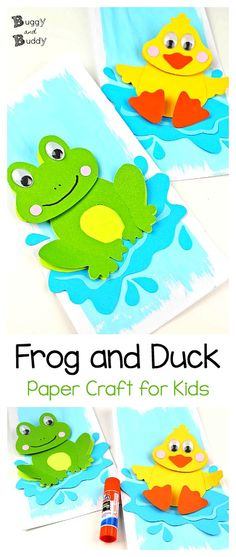Frog Craft and Duck Craft for Kids with Free Printable Template: Create these easy pond crafts for kids using our printable PDF and just a few supplies. Perfect for spring and summer or just for a rainy day! #pondcraft #frogcraft #duckcraft