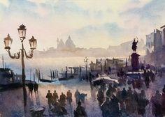 """Venice at Sunset"" watercolour Trevor Waugh"