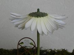 Fairy Garden Flower Umbrella miniature Upside down silk flower add a bead topper.