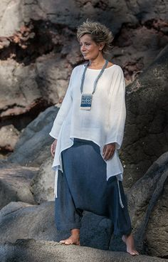 Women apparel: loose fit white linen top with a denim linen harem pants (sarouel) -:- AMALTHEE