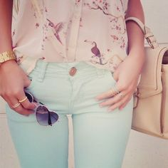 Pink printed blouse with minted pants along with cute accessories