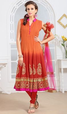 Orange and Red Georgette Anarkali Suit #indianchuridar #best-salwarkameez