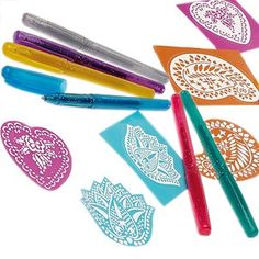 http://stansmarketing.com/npw-body-art-glittery-tattoo-pens/ Six great colour glitter gel pens with temporary tattoo ink, plus 3 self-adhesive skin stencils.Create detailed skin designs with the stencils or draw free-hand. The ink is skin-safe and easy to wash off.