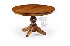 Solid Brown Maple Wood Amish Crafted Kowan Round Extension Table in Michael's…