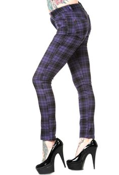 Banned skinny jeans purple tartan UK 10 emo goth scene punk FREE UK POST