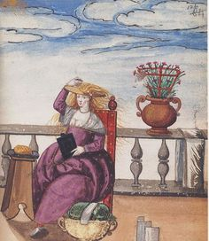 """Bolster Lace Pillow """"Courtesan Bleaching Her Hair"""" (need attribution/date)"""
