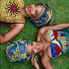 South African Artist Thembi Seete and South African Actress Terry Pheto collaborated to take a series of photos in mixed ankara print outfits for Africa African Attire, African Wear, African Women, African Dress, African Style, African Models, African Inspired Fashion, African Print Fashion, African Prints