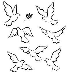 Flight of dove vector 669208 - by dagadu on VectorStock® Dove Drawing, Cross Drawing, Dove Tattoos, Tattoos Skull, Bird Silhouette, Bird Drawings, Art Plastique, Vector Art, Vector Illustrations