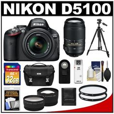 Nikon D5100 Digital SLR Camera & 18-55mm G VR DX AF-S Zoom Lens with 55-300mm VR Lens + 32GB Card + .45x Wide Angle & 2x Telephoto Lenses + Remote + (2) Filters + Tripod + Accessory Kit by Nikon. $929.95. Kit includes:♦ 1) Nikon D5100 Digital SLR Camera & 18-55mm G VR Zoom Lens♦ 2) Nikon 55-300mm ED VR Zoom Lens ♦ 3) Transcend 32GB SecureDigital Class 10 (SDHC) Card ♦ 4) PD 2x Telephoto & .45x Wide-Angle Digital Lenses♦ 5) Vivitar 52mm UV Glass Filter♦ 6) V...