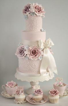 Tartas de boda - Wedding Cake - vintage style pink wedding cake from cotton and crumbs Wedding Cake Roses, Wedding Cakes With Cupcakes, Beautiful Wedding Cakes, Gorgeous Cakes, Pretty Cakes, Rose Wedding, Cupcake Cakes, Party Wedding, Floral Wedding
