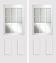 684-CGBGBLD_80_S_2 11/16 Caming, Smooth Grain 1/2 Lite, 9 Lite Low-E Glass 2 Panel Traditional Door Privacy Style  ユ 11/16ヤ White Contoured Internal Grilles ユ Suppresses sound with a Sound Transmission Coefficient (STC) value of 35. ユ Triple-glazed design reduces heat transmission by up to 28%. ユ Blinds completely disappear into top valance when fully raised. ユ 6/6 doors are undersized (used for replacement of sliding glass doors).