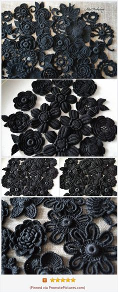 Gothic style flower Goth Witch accessories Dark Victorian Diy kit Irish crochet Set flower Black Rose Crochet flower Black wedding 10pcs https://www.etsy.com/AlisaSonya/listing/494412449/gothic-style-flower-goth-witch?ref=shop_home_active_74 (Pinned using https://PromotePictures.com) #crochetflowers