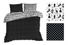 Obojstranné čierno biele posteľné obliečky s guličkami a mačkami Comforters, Blanket, Bed, Home, Creature Comforts, Blankets, Stream Bed, Ad Home, Homes