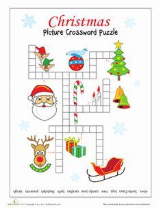 Christmas Second Grade Crossword Worksheets: Christmas Picture Crossword
