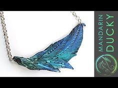 Night Out Feather Necklace DIY project with polymer clay by Mandarin Duck Polymer Clay Owl, Polymer Clay Necklace, Polymer Clay Projects, Polymer Clay Beads, Collar Chevron, Diy Nespresso, Handmade Statement Necklace, Clay Videos, Clay Tutorials