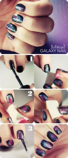 These galaxy nails are out of this WORLD! Start with navy or purple polish and let dry. Then, apply pink and teal polish using a damp makeup sponge. Top with a few coats of glitter and let dry for an amazing manicure.
