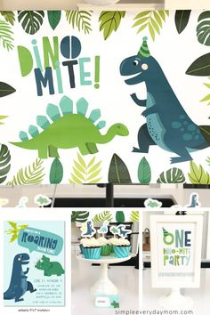 colorful birthday party Want to throw a quick and easy dinosaur themed birthday party for kids? These dinosaur party printables include invitations, banners, table signs, cupcake toppers, food labels and more! Colorful Birthday Party, Dinosaur Birthday Party, Birthday Cupcakes, Birthday Party Themes, Girl Birthday, Colorful Party, Table Signs, Food Labels, T Rex