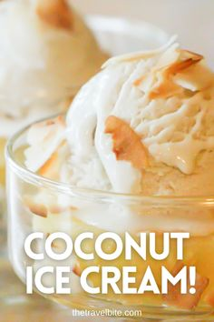 A delicious dairy-free coconut ice cream. And it's even more rich and creamy when you make it at home! This recipe starts with a simple dairy-free coconut ice cream made with canned coconut milk. There are also instructions for add-ons like pineapple and/or rum if you'd like to make it into a pina colada ice cream. Once you get the coconut ice cream recipe down, there are truly so many variations you can make! Hope you enjoy it. | thetravelbite.com | #Coconut #Icecream Coconut Ice Cream, Canned Coconut Milk, Coconut Rum, Pina Colada, Frozen Desserts, Ice Cream Recipes, Dairy Free, Pineapple, Sweet Treats