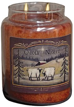 O Holy Night Jar Candle filled with the yummy scent of  Buttered Maple Syrup.  KP Creek Country Gifts