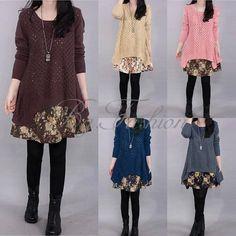 Womens Loose Double Layer Knit Hollow Sweater Floral Hem Mini Dress Pullover #Zanzea #Dress