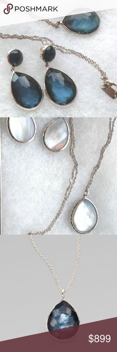 SET:  Ippolita Wonderland Teardp Pendant & Earring Genuine and Authentic SET:  Ippolita Wonderland Large Teardrop Pendant and Sterling Silver Necklace & Matching Double drop Earrings  with Indigo ~ Mother of Pearl reversible stones  In Excellent Condition. Necklace: Retail:  $495 Approximately 18 inches long and can be worn at approximately 16 inches (extra hoop) Earrings: Retail: $695. The blue doublets and hammered sterling silver of these Ippolita earrings provide the perfect pop of…
