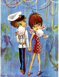 Postcard of a Big Eyed Girl and Boy