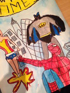 Nina  Comic art Spiderman, Batman, Kids Poster, 7 Year Olds, Paint Pens, Comic Art, Wonder Woman, Content, Superhero